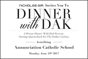 Invitation for a charity dinner with Dak Prescott benefiting Annunciation Catholic School