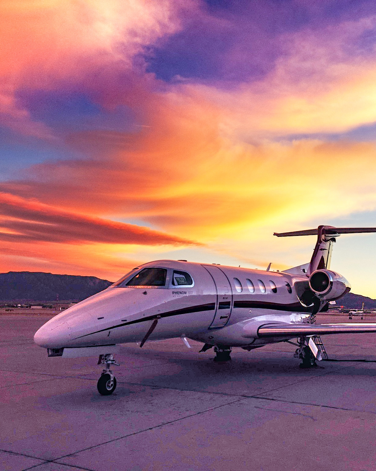 Embraer Phenom 300 on Tarmac at Sunset