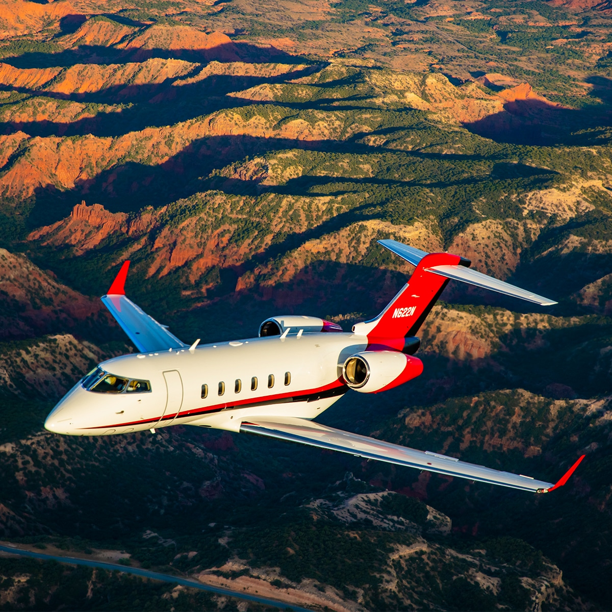 Bombardier Challenger 300 Aerial over Canyon
