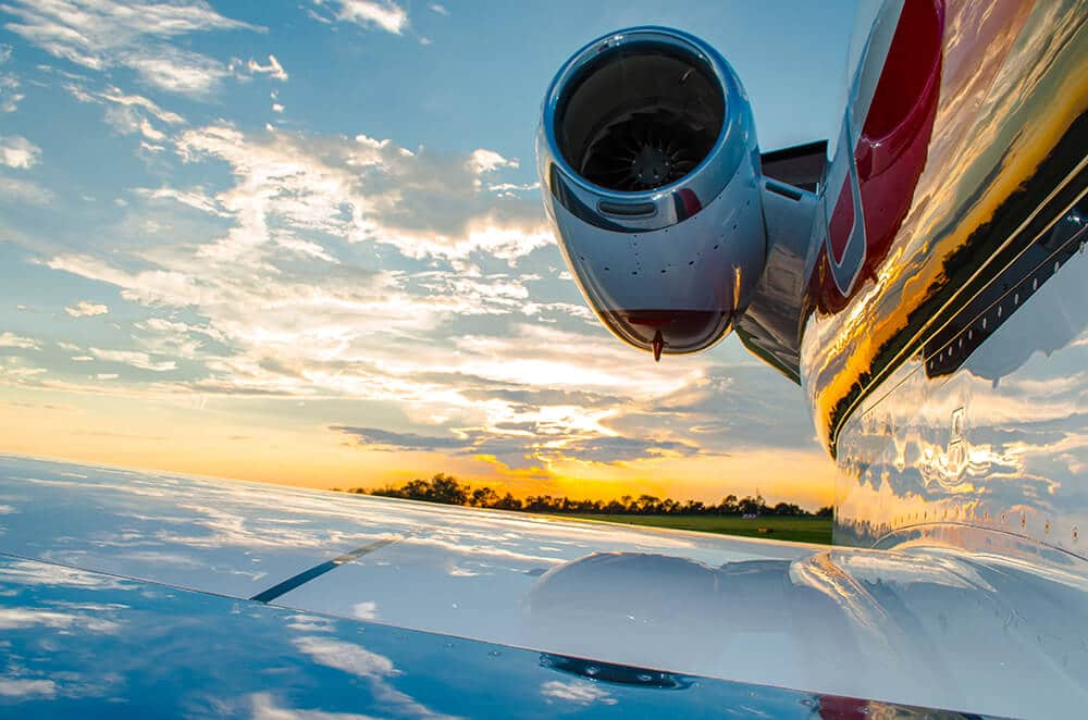 Cessna Citation CJ3 Wing and Engine at Sunset