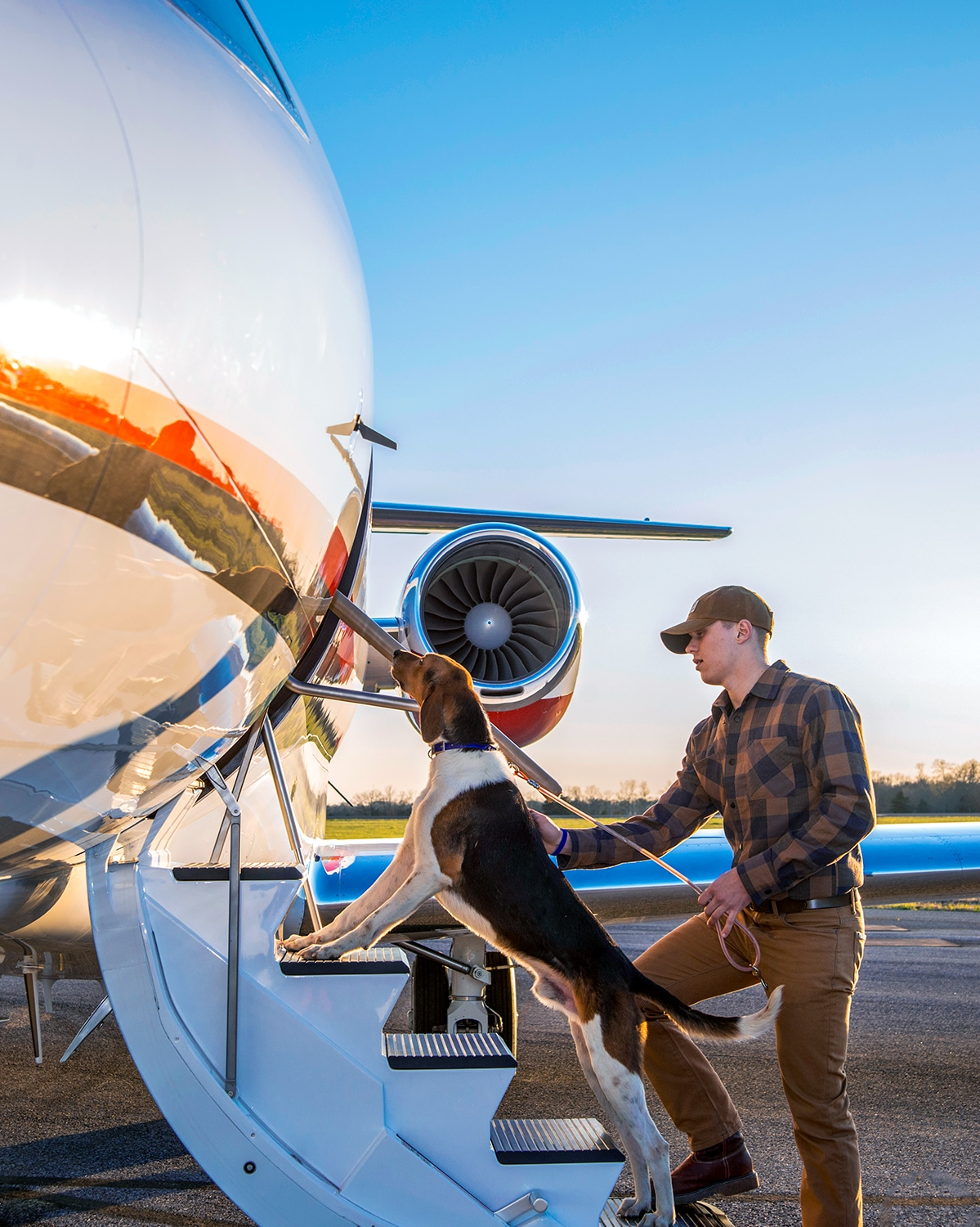 Hunting Dog and Owner Boarding Cessna Citation Latitude
