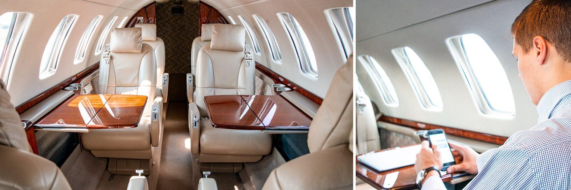 Cessna Citation CJ3 Interior with Wifi Capabilities