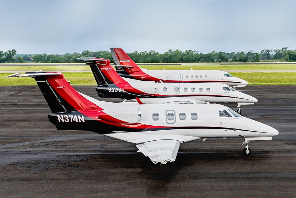 Phenom 100, Phenom 300, and Citation Latitude Jets Lined Up