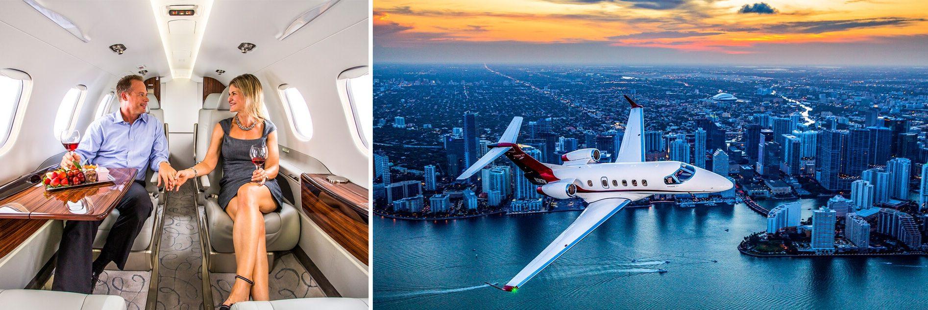 Phenom 300 Interior Couple Enjoying Wine and Aerial Over Miami