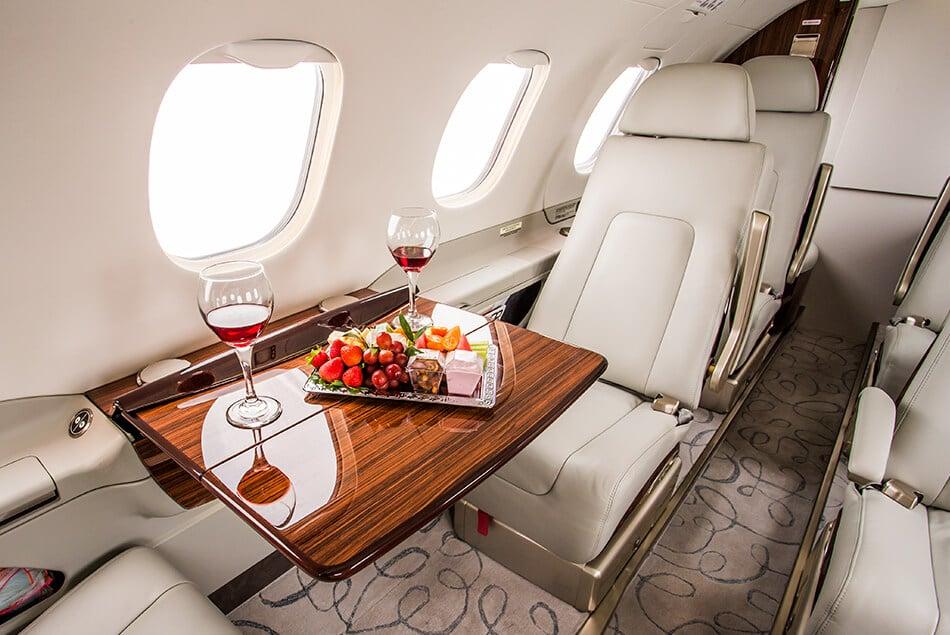 Phenom 300 Interior with Wine