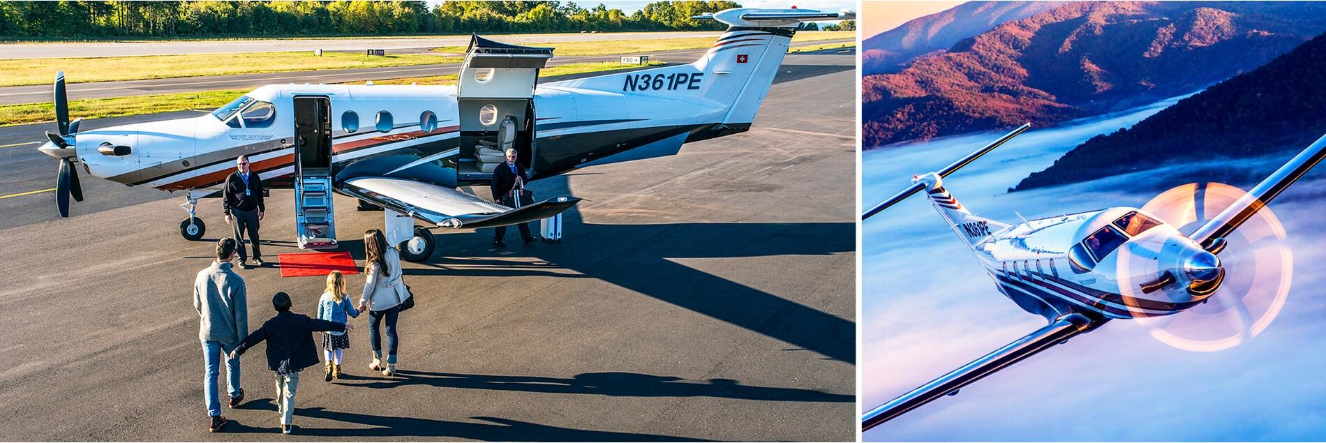 Family Boarding A Pilatus PC-12