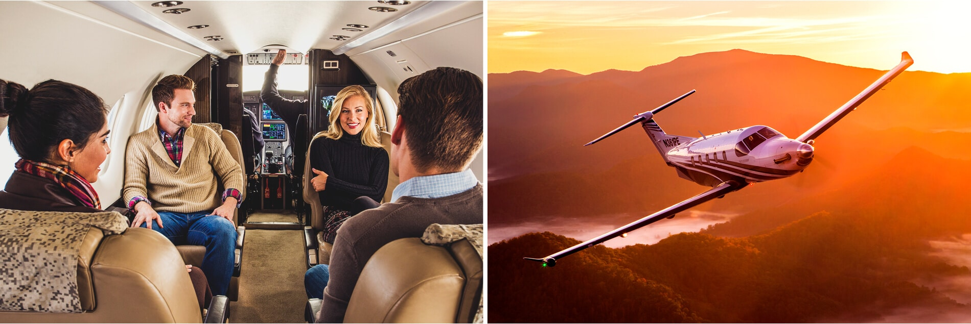 Pilatus PC-12 Interior with People Onboard