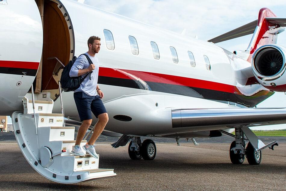 Daniel Berger Deboarding Bombardier Challenger 300