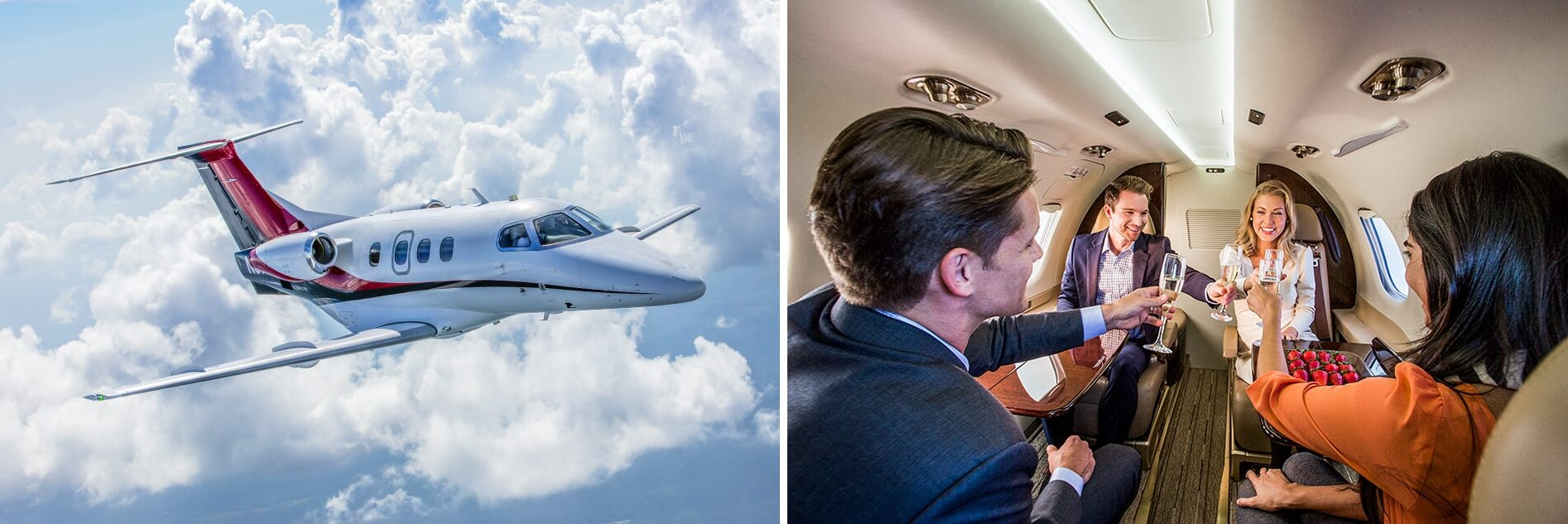 Embraer Phenom 100 Aerial and Interior with Friends Enjoying Champagne