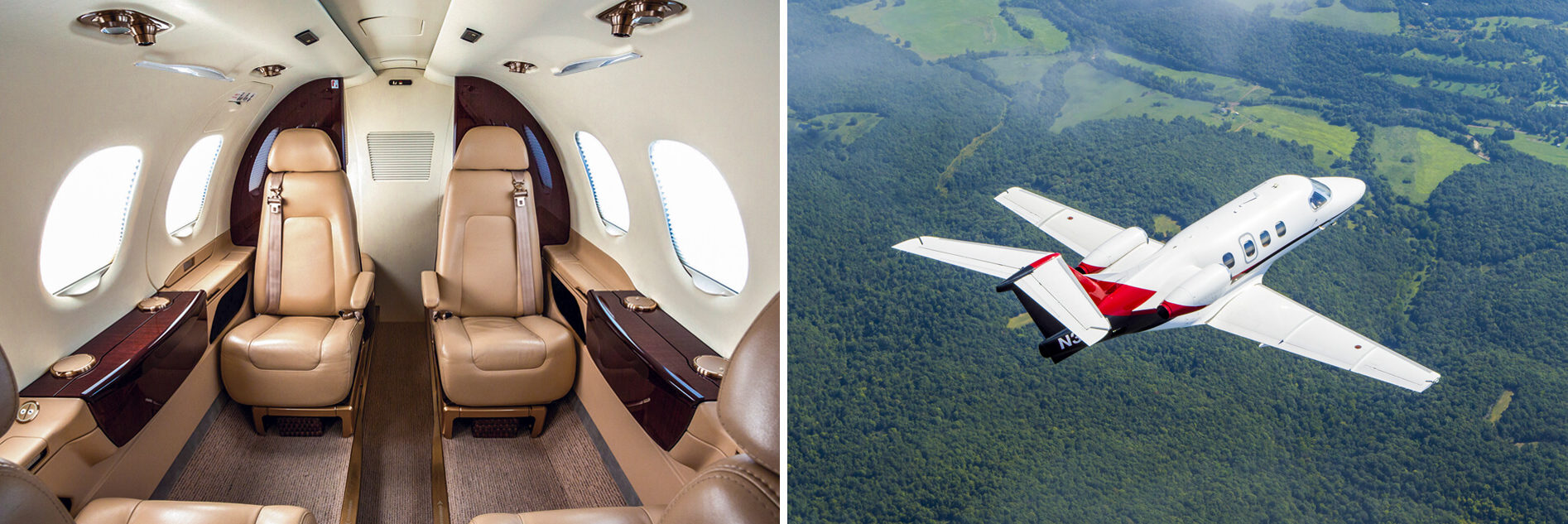Embraer Phenom 100 Interior and Aerial