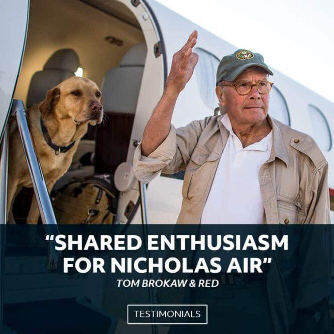 Tom Brokaw and His Dog Boarding Embraer Phenom 300 | Shared Enthusiasm For Nicholas Air