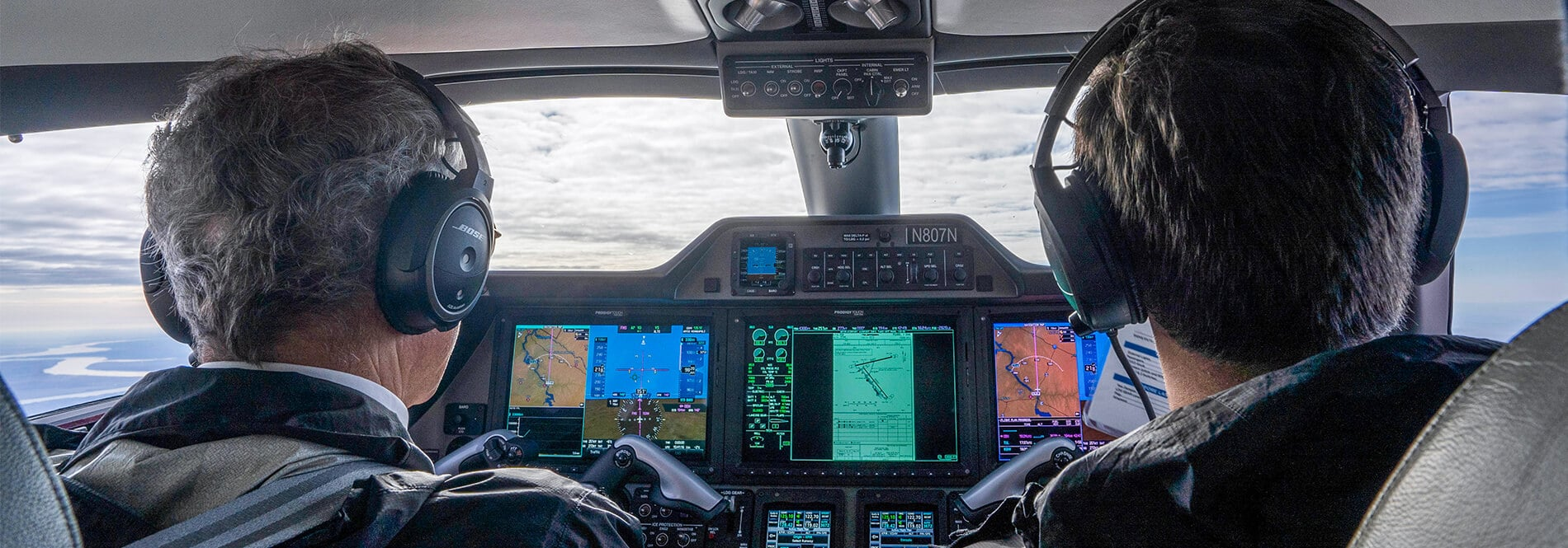 Nicholas Air Pilots in Citation Latitude Cockpit