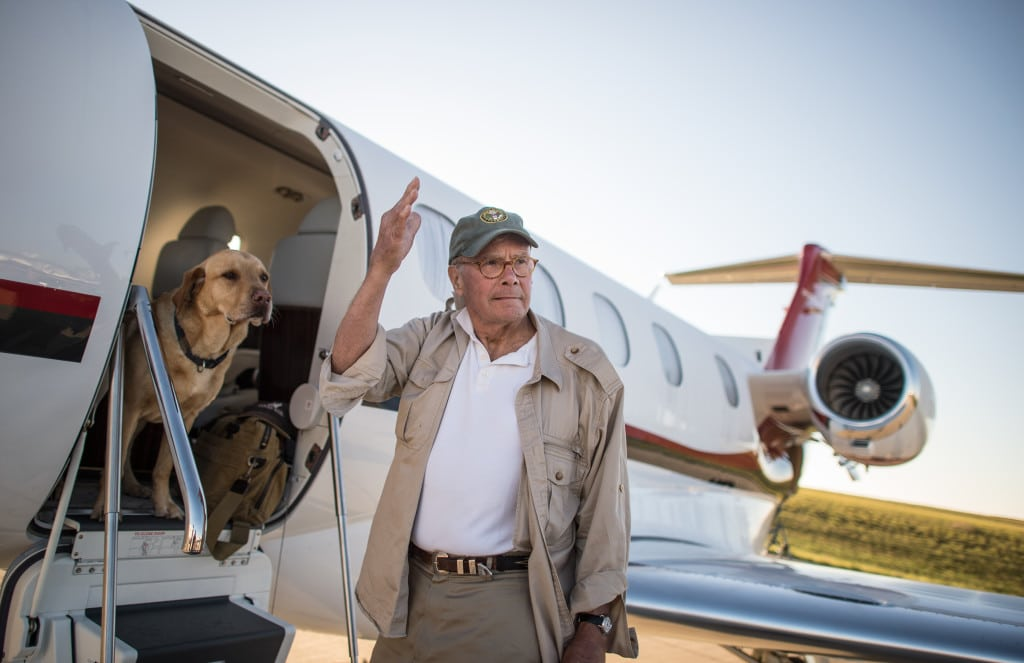 Tom Brokaw and Red Boarding the Phenom 300